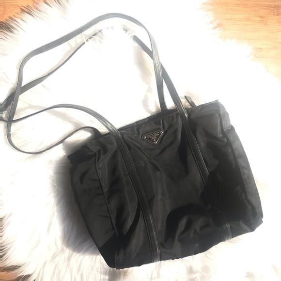 79158a02b3e4 Prada Nylon and Leather Tote Bag. M 5bf859eb4ab633b73aca698e